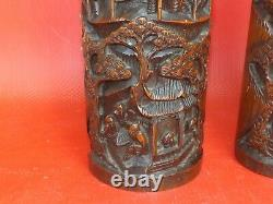 1 Pair of Engraved Bamboo Vases, Underneath Signed. 19th / 20th Century