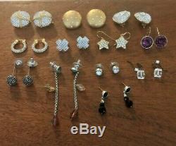 12 Pairs Lot Vintage Swan Signed Swarovski Crystal Rhinestone Earings