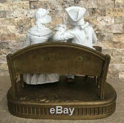 19th C French Raphael Lagneau Signed White Bisque Porcelain Couple Bronze Statue