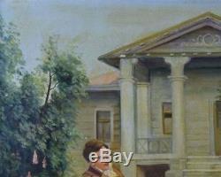 19th Century Antique Original Oil Painting Continential Couple Scene Mansion