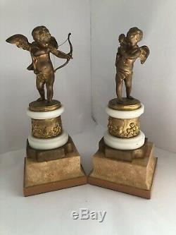 19th Century French Gilt Bronze Pair Of Cherubs Signed