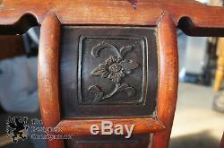 2 Antique Chinese Ming Style Rosewood Elm Signed Chairs Minguo Period 1923 Pair