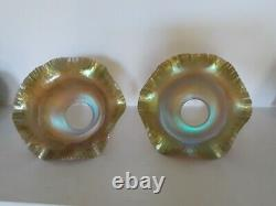 2 Antique Signed Quezal Iridescent Gold Glass Ruffled onionskin Lamp Shade Pair
