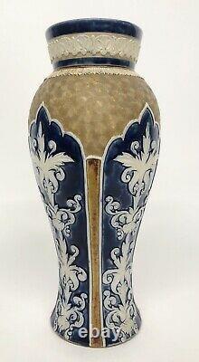 2 Doulton Lambeth Antique Gilt Circle Swirl Blue Vase Signed Pair