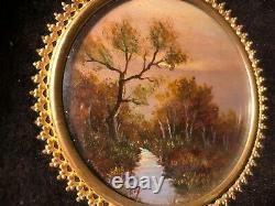 2 Miniature Oil Paintings On Vellum Framed Signed Antique Vintage Pair