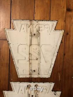 2 Pennsylvania Keystone Sign ROUTE 722 Penna Highway Antique Vintage OLD Pair