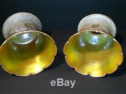 2 Signed Quezal Art Glass Heart & Vine Threaded Shades Just a Stunning Pair