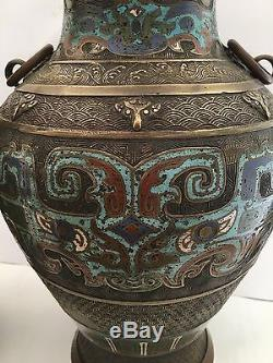 2 Superb Antique Chinese Patinated Bronze Vases Enamel Oriental Signed PAIR
