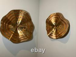 2003 Curtis Jere Signed Copper Convergence Pair Wall Art Sculptures 27 & 19