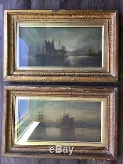 2x PAIR Fine Antique art Richard Nibbs RA 19th century oil canvas Ship maritime