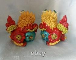 5 Chinese Pair Wucai Porcelain Koji Pottery Foo Dog Lion Fengshui Stamped RARE