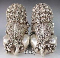6 Exquisite Chinese Silver copper Bronze Fu Foo Dog Guardian lion Statue Pair
