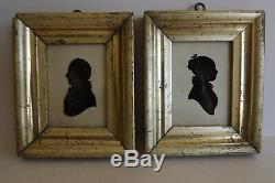 A PAIR OF c19th FRAMED & GLAZED SILHOUETTES OF LADY & GENTLEMAN Signed R. P. WILLS