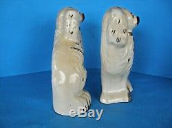 A Pair Of Beswick England Antique Staffordshire Dog Ceramic Statues-signed