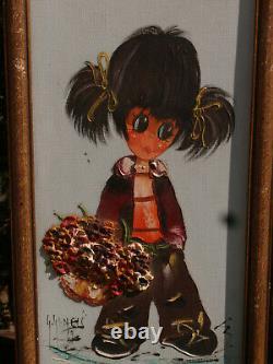 A Pair Of Vintage Original Framed & Signed Oil Paintings In Keane Style Big Eyes