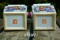 A Pair of Beautiful Antique Chinese Hand-painted Famille Rose Vases with mark