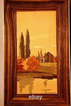A Very Decorative Art Deco Pair of Signed Marquetry Panels, Circa1940