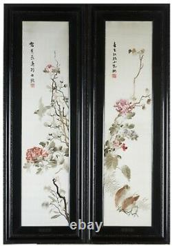 A Very Rare Pair Of Chinese Republican Framed Hunan embroidery (Xiangxiu)