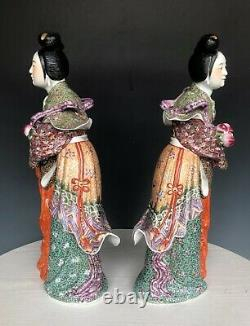 A paire of famille rose Chinese antique pocelain sculpture statue signed 20th c