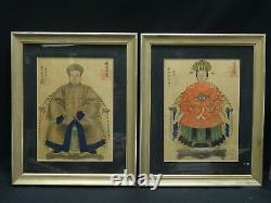 ANTIQUE 19c. PAIR OF CHINESE ANCESTOR SEATED PORTRAITS DOUBLE CHOP SIGN MARKS