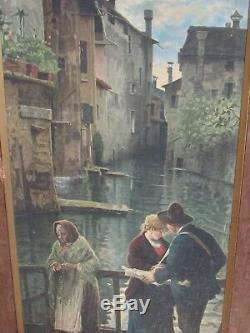 ANTIQUE ITALIAN VENICE SCENE VENDOR WITH GIRL AND OLD WOMAN O/C (1 of pair)