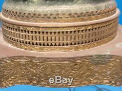 ANTIQUE PAIR of PORCELAIN BOUDOIR TABLE LAMPS SIGNED Picau ARABESQUE MOTIF