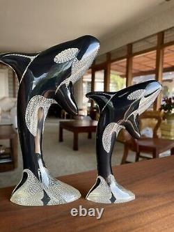 Abraham Palatnik PAL Lucite PAIR Orca Killer Whale Sculpture Acrylic 10 MCM