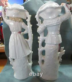 Antique 11 3/4 High Glazed Bisque Signed Pair Male & Female Figurines