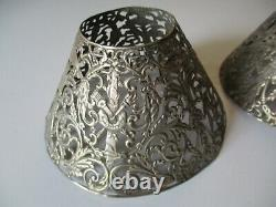 Antique 2 Lamp Shade Sterling Silver Ornate 19th To 20th Century Pair Sculpture