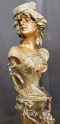 Antique Art Nouveau French Women Cupids Pair Bronze Spelter Figurines Signed