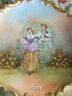 Antique Artist Signed Limoges Courting Couple French Lady Man Porcelain Plate