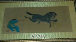 Antique Asian Art Pair signed seal Chinese paintings on silk