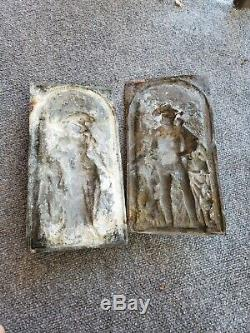 Antique Authentic Bronze Wall Plaques Pair Regist Gustav Grohe Signed 1826-1906