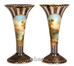 Antique Aynsley Pair of Trumpet Vases Signed by RC Keeling Circa 1890