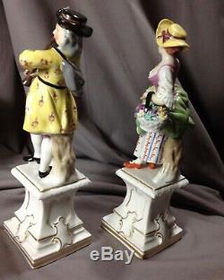 Antique Dresden 19th Porcelain Hand Painted Signed Pair Figure Pedestals Season