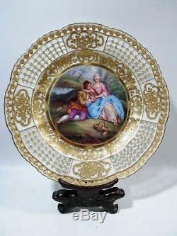 Antique Dresden Hand Painted Cabinet Plate Courting Couple Carl Thieme Signed