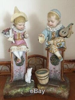 Antique French Bisque Pair Pierrot Children Signed. Samson