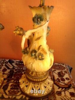 Antique French Pair Art Nouveau Table lamps, semi nudes, signed by Aug. Moreau