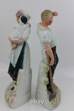 Antique German Gebruder Heubach Bisque Porcelain Pair Figurines Signed 32cm High