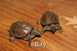Antique Japanese Bronze Small Pair TRICK Statues/Okimonos, Turtles, Signed