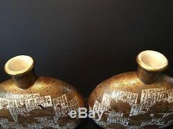 Antique Japanese Large Pair Satsuma Moon Flasks Vases, Meiji period. Signed