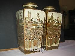 Antique Japanese Meiji Period Pair Satsuma Vases Signed