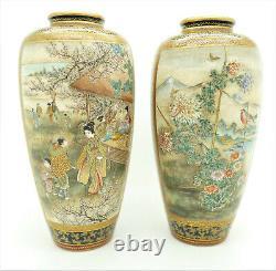 Antique Japanese Satsuma Pair of Vases Signed Kawayama Museum Quality