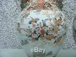Antique Japanese Satsuma Vases Signed Pair