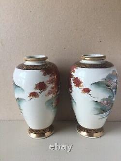 Antique Japanese Satsuma Vases Signed Shimazu Taisho Period Mirrored Pair 18 cm