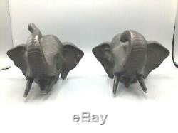 Antique Japanese pair of elephant bronze book ends, signed