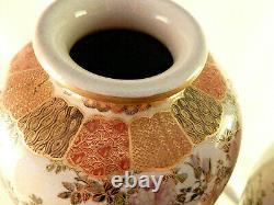 Antique Mirrored Satsuma Vases Pair 12.25 Inches High Signed