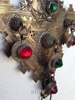 Antique Moroccan Fibula Pair Etched Silver W Enamel Hand Cut Glass Museum Qualit