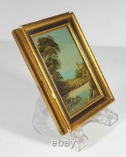 Antique Muriel HALSTEAD MINIATURE PAINTINGS Pair Oil Lanscape Classical Original