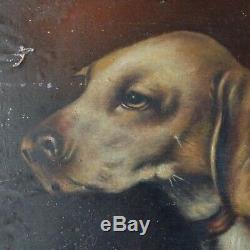 Antique Oil Painting French Pair Portrait Dog Signed MOREAU